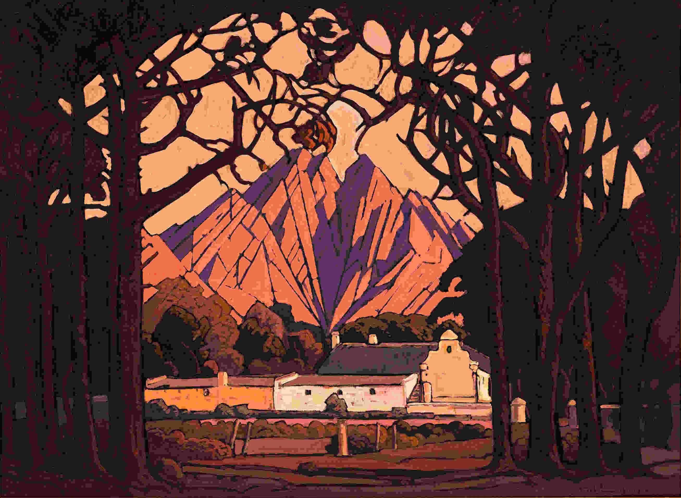 Jacob Hendrik Pierneef, Boerderij in de Jonkershoekvallei, Stellenbosch, 1928, olieverf op doek, 73,5 x 100,5 cm
